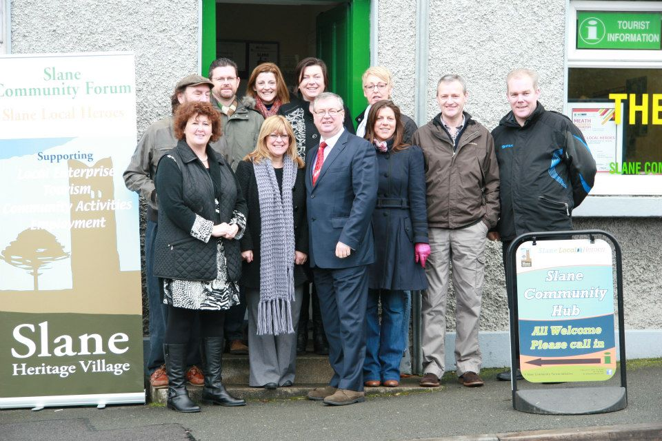 Members of the Slane Local Heroes project 'Talk to Joe'. Bypass Campaigners take the opportunity to discuss the need for a Bypass with Joe Duffy