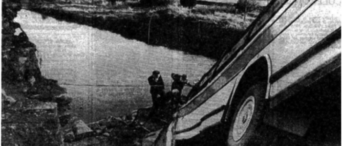 In 1985 a school bus carrying children from Cork on a school tour in the area crashes into Slane Bridge