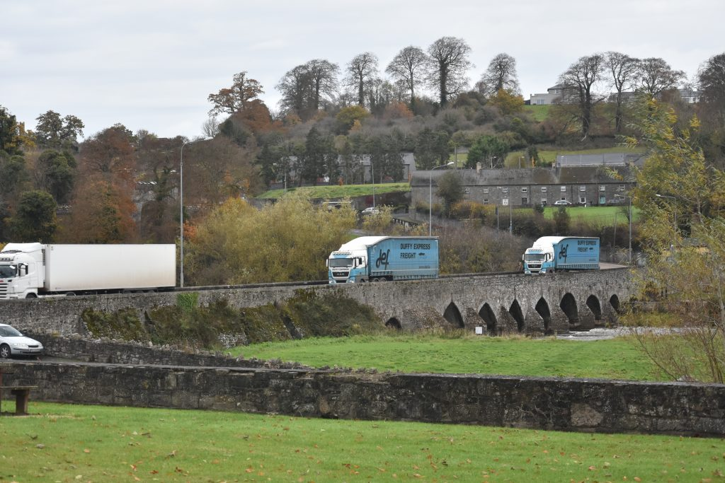 Heavy Goods Vehicles cross Slane Bridge. Since a Fatal Accident in 2001, HGV and Car Traffic have been Filtered Separately on the Northern Side of the River
