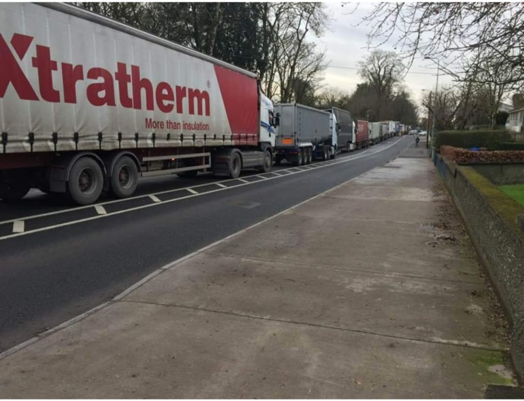Traffic queues on the Slane-Navan Road following a traffic accident in February 2019