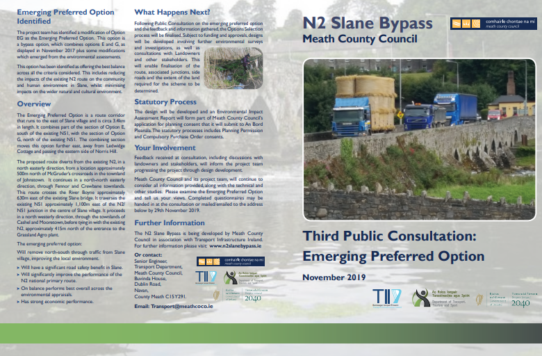 Front Cover of Meath County Council Brochure - Emerging Preferred Route - Slane Bypass