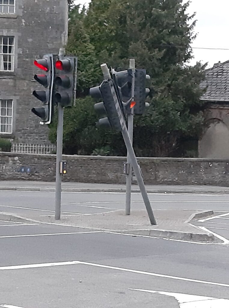 Traffic Lights Damaged at Slane Crossroads